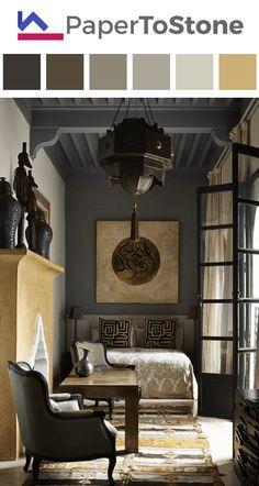 Living room color palette - black dark-amber indigo