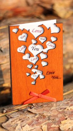 I Love You Card, Unique Wooden Gifts, Wood Anniversary, Love Greetings, Love Presents, Gift Love, Happy Anniversary Card, 5th Anniversary