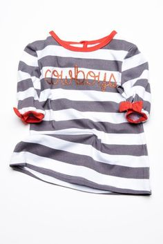 Lil Lu apparel  Children's Cowboys Stripe Dress great for game day!
