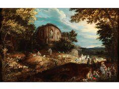 LANDSCHAFT MIT ANTIKEM TEMPEL UND FIGUREN Öl auf Holz. 27 x 42,5 cm. Verso alter tintenbeschriebener Aufkleber. Beigegeben Expertise von Jan De Maere,...