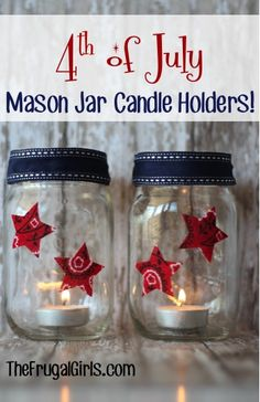 4th of July Mason Jar Candle Holders! ~ from TheFrugalGirls.com - perfect for your patriotic Americana decor! #masonjars #4thofjuly #thefrugalgirls