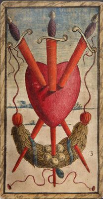 Three of Swords from the Sola Busca tarot deck, the oldest complete deck.