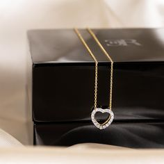 With love, our classic open heart diamond set pendant dazzles in yellow gold, on a fine matching trace chain. Exclusive to Charles Rose Melbourne & Geelong. Diamond Heart, Heart Shapes, Melbourne, Arrow Necklace, Chain, Yellow, Pendant, Rose, Classic