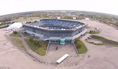 Depressing: The Silverdome has had an uncertain fate ever since the Lions left in 2002 as the city tried to find use for it - including monster truck rallies, boxing matches and as a drive-in theater - and the population in Pontiac dwindled Abandoned Property, Abandoned Houses, Abandoned Places, Detroit Sports, Detroit Lions, Monster Truck Rally, Drive In Theater, Depressing, Haunted Places