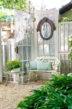 Outdoors Discover A Dream Outdoor Summer House & Gardening Shed Build a Greenhouse or Potting Garden Shed From Old Windows & Doors Shabby Chic Projects You Can Do Shabby Chic Dresser Project Idea Project Difficulty: Simple Summer House Garden, Garden Cottage, Home And Garden, Garden Oasis, Garden Path, Easy Garden, Garden Spaces, Garden Hideaway Ideas, Family Garden