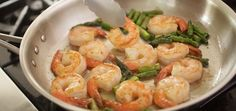 of sweet shrimp, earthy asparagus and creamy Parmesan grits ...