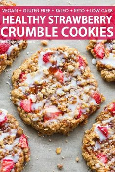 Strawberry Crumble Bar Cookies are a healthy cookie recipe made with NO flour and NO sugar- Made with oatmeal and banana it s naturally sweetened and with a keto paleo option breakfastcookies cookies strawberry keto paleo Keto Cookies, Cookies Sans Gluten, Cookies Et Biscuits, Bar Cookies, Healthy Cookie Recipes, Healthy Cookies, Healthy Desserts, Paleo Recipes, Paleo Food
