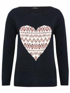 Long sleeve love heart fairisle knit jumper: Amazon.co.uk: Clothing