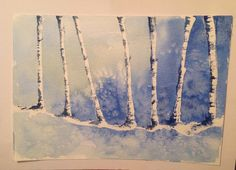 Birch trees in Winter - watercolour. See more at https://www.artfinder.com/tina-hiles