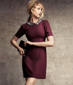 Oxblood Dress with Jeweled Peter Pan Collar - Hellloooo Fall! Burgundy Dress, Maroon Dress, Fall Fashion Trends, Autumn Fashion, Fashion Tips, Flare Dress, Dress Up, Wine Dress, Short Dresses