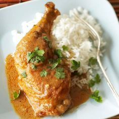 Thai Peanut Chicken Casserole~Chicken is smothered in a rich and spicy peanut butter sauce, then slow-cooked for fall-off-the-bone tenderness. Fresh cilantro tempers the heat.