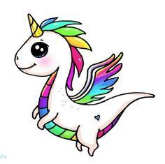 Unidragon Cute Food Drawings, Cute Kawaii Drawings, Simple Cartoon, Cute Cartoon, Cute Kawaii Animals, Unicorn Drawing, Unicorn Pictures, Cute Anime Pics, Cute Unicorn
