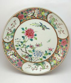 ANTIQUE 19thC CHINESE EXPORT FAMILLE ROSE PORCELAIN PLATE, SIGNED & SEAL MARK