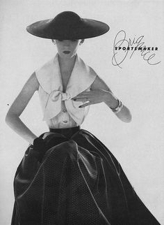 May Vogue 1954  Black and white skirt and top. classical retro