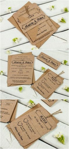 Kraft Wedding Invitation Bundle - Rustic Wedding Invitation / http://www.deerpearlflowers.com/rustic-wedding-invitations-from-etsy/