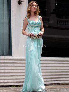chiffon sweetheart neckline full-length formal dress with beaded straps
