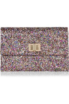 Anya Hindmarch:  Valorie glitter finish clutch