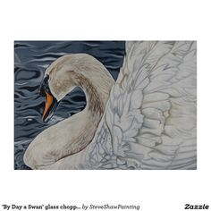 'By Day a Swan' glass chopping board. Cutting Boards