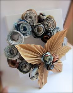 Recycled Magazine Rossette Wreath
