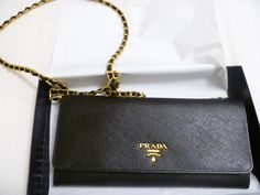 prada leather wallet on a chain