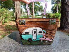 (vu) Hand Carved Wooden Box purse- Vintage Trailer Flamingo CAMP FIZZY. $149.99, via Etsy.