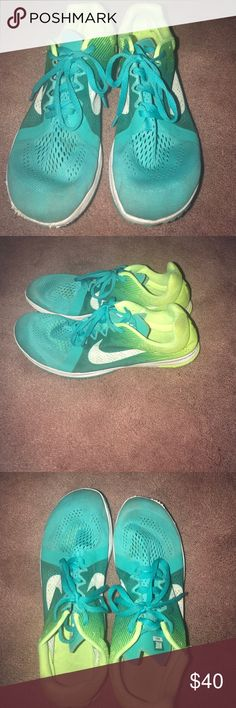"Size 10.5 women's Nike ""zoom"" for racing/running Women's 10.5 Nike ""zoom"" Tennis Shoes for racing/running! They are a turquoise color, lime green, and white!! Great shape.. practically brand new!! Very light weight!! Nike Shoes Sneakers"