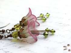 Lucite Flower Earrings Berry Purple Dangle Moss Green Spring Woodland Pixie Fairie Faerie Nature Inspired Jewellery via Etsy