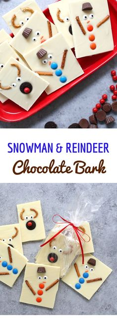 Snowman Reindeer Chocolate Bark – An Easy Holiday Gift Idea. This great Christmas recipe is easy and great for holiday parties!