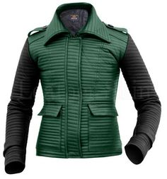 Leather Skin Women Green Rib Quilted Genuine Leather Jacket with Black Sleeves Purple Leather Jacket, Long Leather Coat, Green Leather Jackets, Leather Jacket With Hood, Leather Skin, Jackets For Women, Women's Jackets, Jackets Online, Sleeves