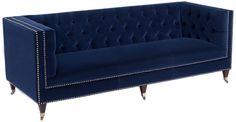 Tuxedo Style Tufted Navy Blue Velvet Sofa with Silver Nail Heads
