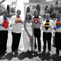 www.lasvegasweddingwagon.com Las Vegas Wedding Wagon Photo of the Day; We've been a little neglectful of our photos this week so we thought we would give you a second photo of the day! We loved this shot of our groomsmen ripping open their shirts to reveal their hidden superhero personality and our Bride revealing her Wonder Woman garter to match her bouquet!