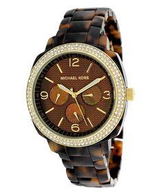 This Brown Swarovski Crystal Boyfriend Chronograph Watch by Michael Kors is perfect! #zulilyfinds