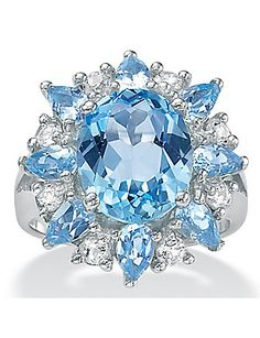Blue/White Topaz Silver Ring by Palm Beach Jewelry