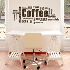 """ColorfulHall Black 39.4"""" X 15.7"""" Kitchen Coffee Words Removable Vinyl Wall Decal Coffee Wall Quote Kitchen Wall Sign Wall Sticker For Shop Office Home Cafe Hotel"""