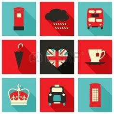 A set of long shadow icons with London symbols. photo