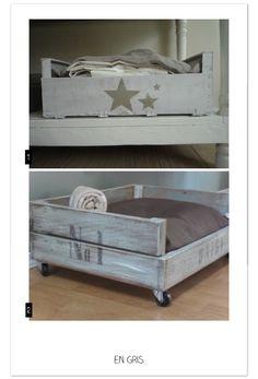 panier pour chien avec caisse pomme recup vente de mes cr ations en palette et caisse a. Black Bedroom Furniture Sets. Home Design Ideas