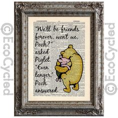 Winnie the Pooh and Piglet Quote 3 on Vintage Upcycled Dictionary Page Book Art Print Friends Forever