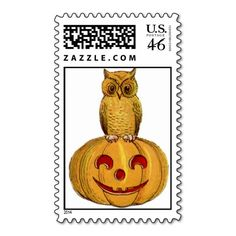 Owl And Pumpkin Postage Stamps