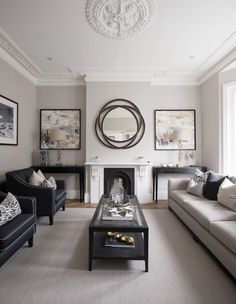 Luxury Grey and black living room decor Monochromatic grey luxury living room decor traditional style grey decor Simple Living Room, Formal Living Rooms, Living Room Grey, Modern Living, Monochromatic Living Room, Small Living, Living Room Couches, Living Area, Grey Family Rooms