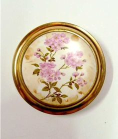 50s vintage compact, pink flowers