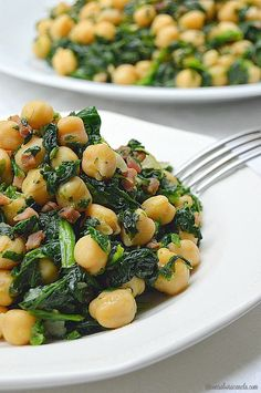 Cinnamon-flavored: Sautéed chickpeas with spinach and ham Healthy Chicken Recipes, Easy Healthy Recipes, Vegetable Recipes, Real Food Recipes, Healthy Snacks, Vegetarian Recipes, Healthy Eating, Cooking Recipes, Best Dinner Recipes