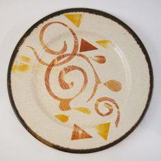 Recycled plate with decal print jonnakuusistoceramics.wordpress.com #dish #ceramic #plate #fiesta Orange, Yellow, Decals, Recycling, Wordpress, Dish, Plates, Ceramics, Studio