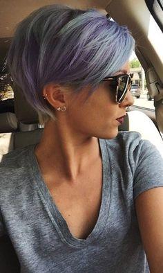 pixie cut grey purple  hair goals ear piercings blanketcoveredlov