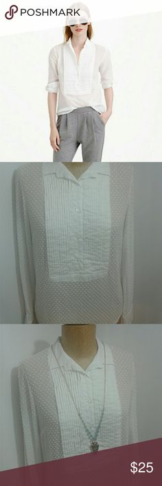 J. Crew tuxedo shirt white size 0 Beautiful J. Crew white tuxedo shirt with swiss dots. The shirt is long sleeved and sheer. The pleated portion of the shirt buttons to close. The shirt is semi sheer. Excellent used condition. J. Crew Tops Blouses