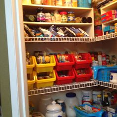 Dollar Store bins & handled baskets (light blue). Loving the organization - makes putting up the groceries less daunting.