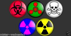 SET OF 5 WARNING BUTTONS BIOHAZARD POISON RADIATION CHEMICAL WEAPON DANGER