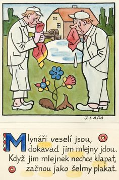 Kalamajka – Mlynáři veselí jsou, 1913 Folklore, The Past, Illustration, Poster, Pictures, Vintage Stamps, Children, Shop Signs, Art Production