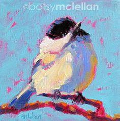 Chickadee Bird Art Giclee Print por betsymclellanstudio en Etsy