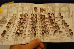 新郎新婦が作ったまるでCDアルバムのケースを思わせるような冊子 冊子の真ん中のページにある、結婚式の席次表