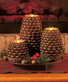 Set-of-3-Pine-Cone-Candleholders-for-Tealights-LED-Candles-Holiday-Christmas